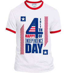 4th of July with Stars and Stripes. Port and Company Ringer Tee.