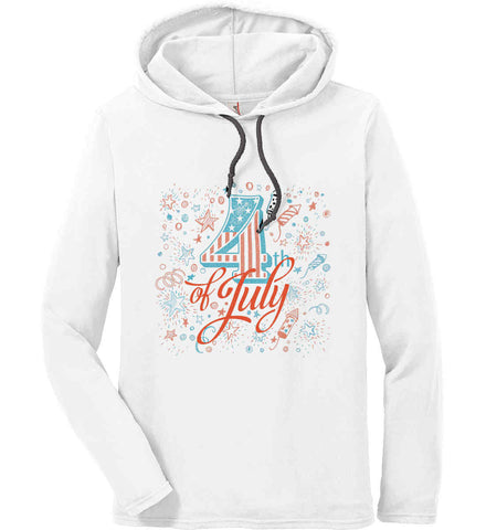 4th of July. Stars and Rockets. Anvil Long Sleeve T-Shirt Hoodie.