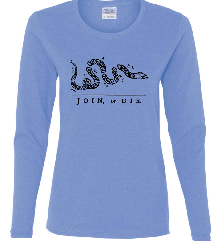 Join or Die. Black Print. Women's: Gildan Ladies Cotton Long Sleeve Shirt.-1