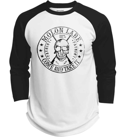 Molon Labe. Come and Take. Skull. Black Print Sport-Tek Polyester Game Baseball Jersey.