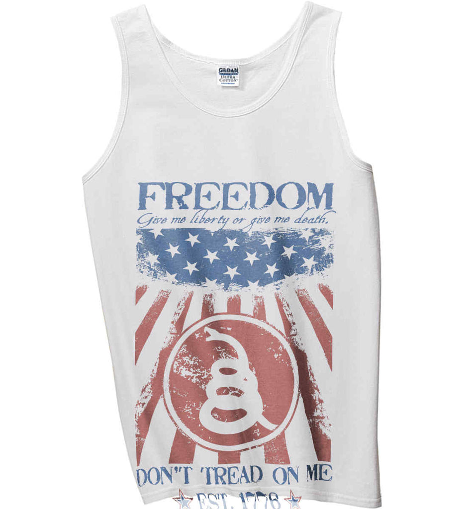 Freedom. Give me liberty or give me death. Gildan 100% Cotton Tank Top.-1