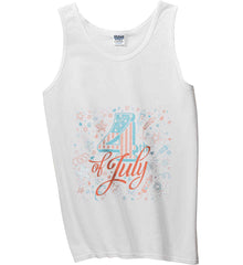 4th of July. Stars and Rockets. Gildan 100% Cotton Tank Top.