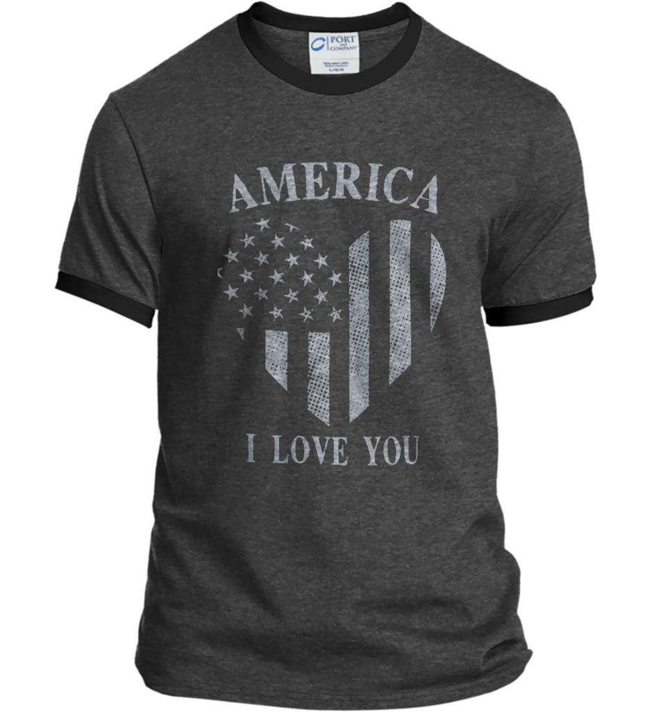 America I Love You Port and Company Ringer Tee.-3