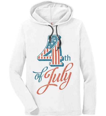 4th of July. Faded Grunge. Anvil Long Sleeve T-Shirt Hoodie.