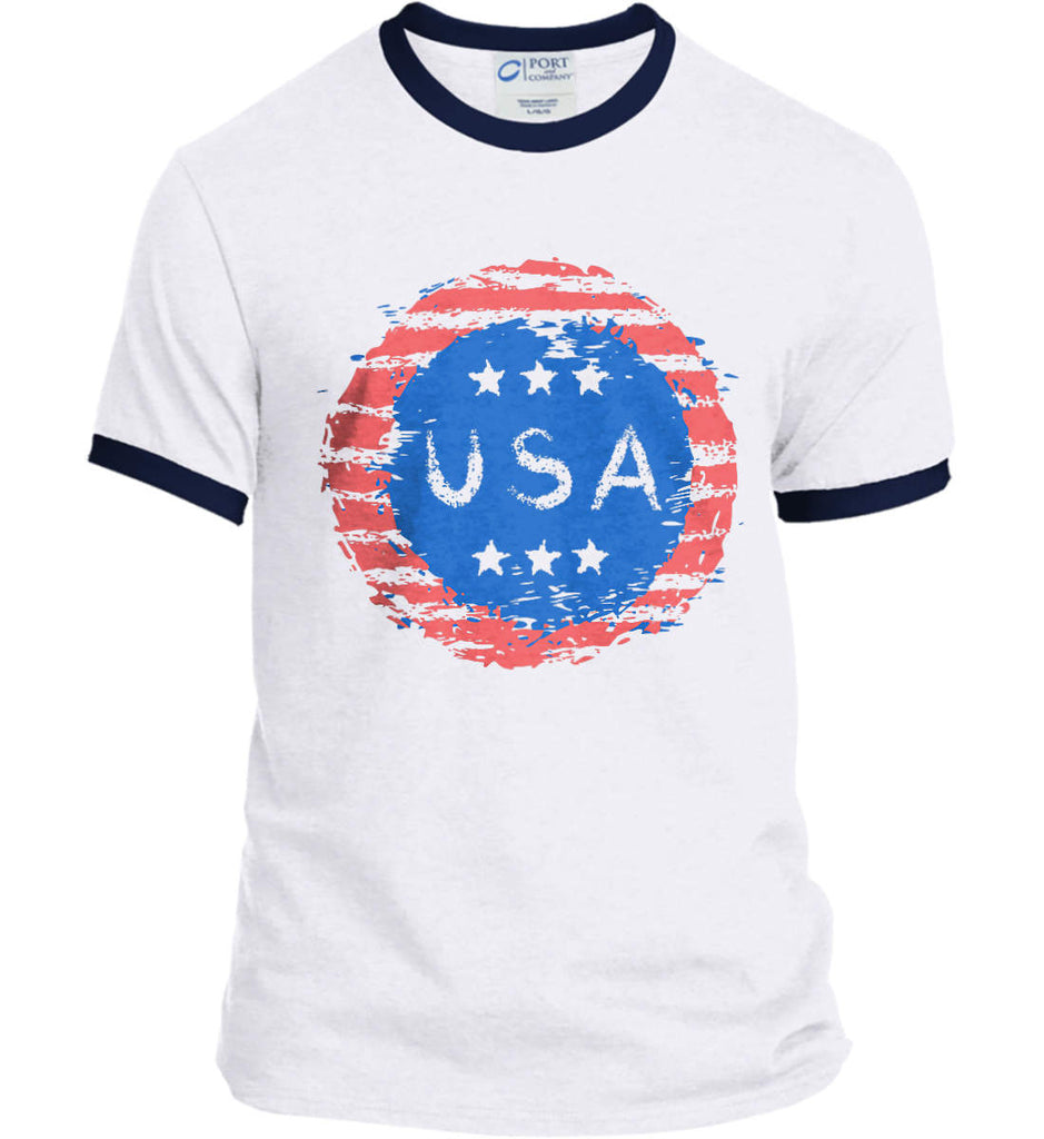Grungy USA. Port and Company Ringer Tee.-3