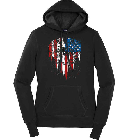 USA Eagle Flying High. Women's: Sport-Tek Ladies Pullover Hooded Sweatshirt.