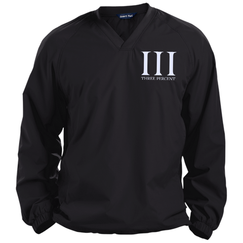 Three Percent Symbol with Text. White. Sport-Tek Pullover V-Neck Windshirt. (Embroidered)