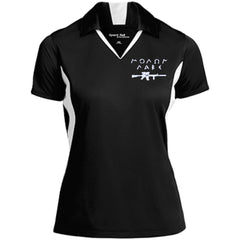 Molon Labe with Rifle. White. Women's: Sport-Tek Ladies' Colorblock Performance Polo. (Embroidered)