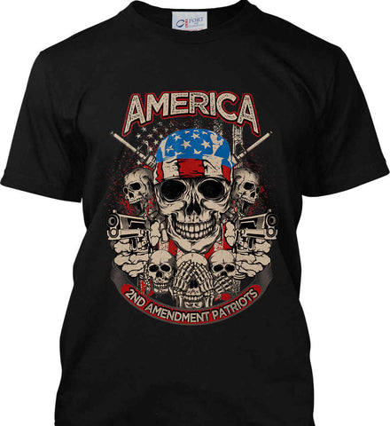 America. 2nd Amendment Patriots. Port & Co. Made in the USA T-Shirt.