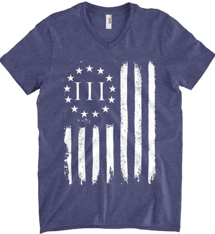 Three Percent on American Flag. White Print. Anvil Men's Printed V-Neck T-Shirt.