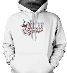 July 4th Red, White and Blue. Gildan Heavyweight Pullover Fleece Sweatshirt.