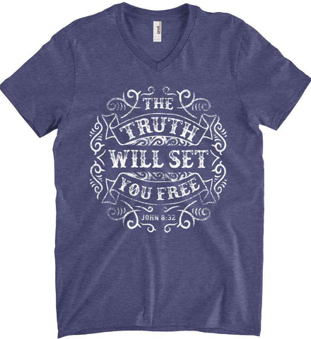 John 8:32. The Truth Shall Set you Free. Anvil Men's Printed V-Neck T-Shirt.