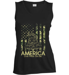 America. Live Free or Die. Don't Tread on Me. Camo. Women's: Sport-Tek Ladies' Sleeveless Moisture Absorbing V-Neck.