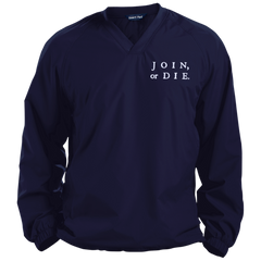 Join Or Die. White Text. Sport-Tek Pullover V-Neck Windshirt. (Embroidered)