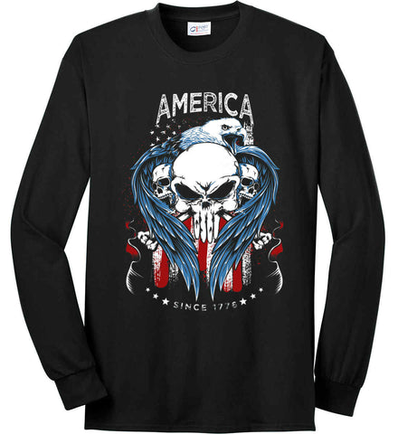 America. Punisher Skull and Bones. Since 1776. Port & Co. Long Sleeve Shirt. Made in the USA..
