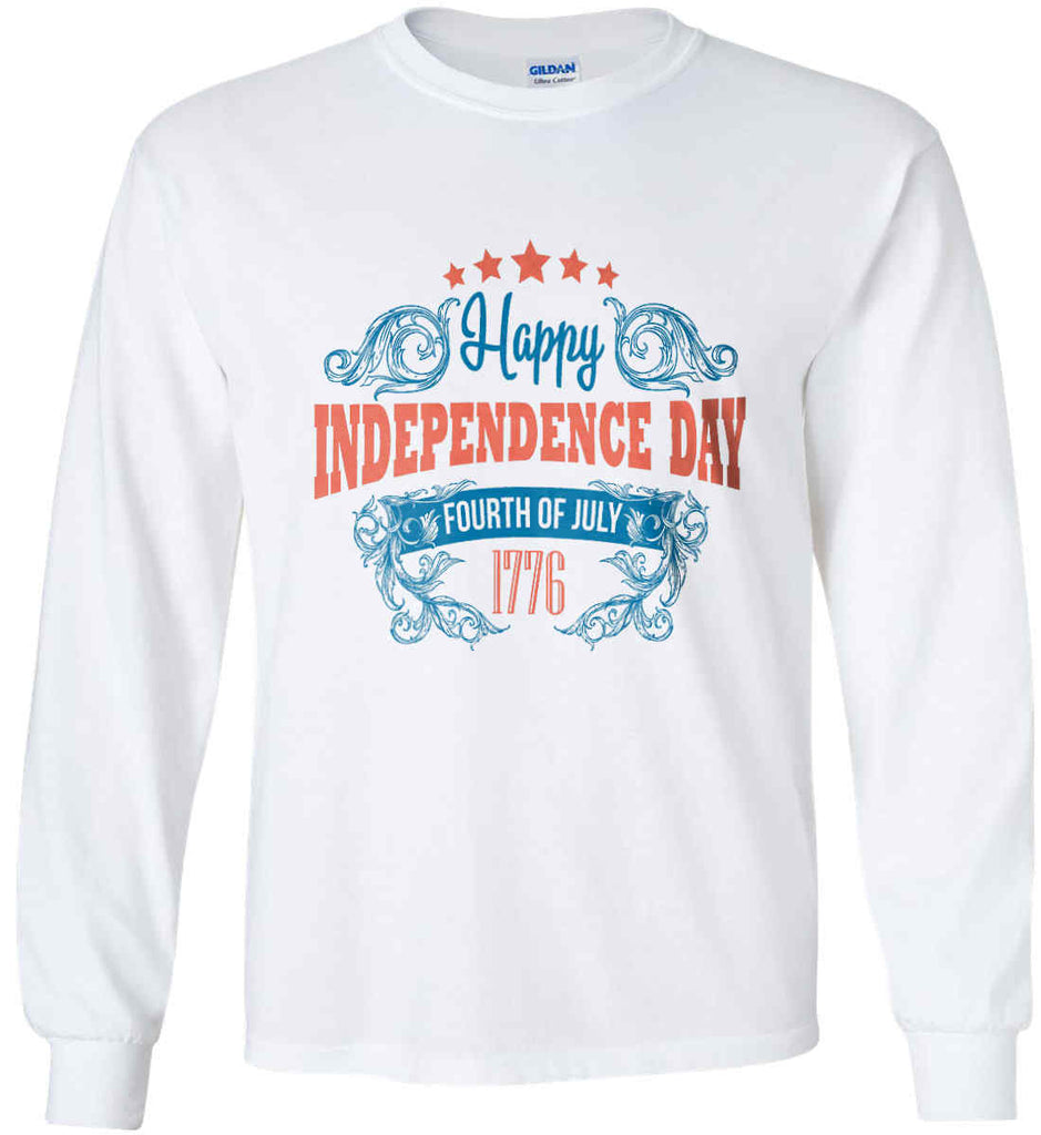 Happy Independence Day. Fourth of July. 1776. Gildan Ultra Cotton Long Sleeve Shirt.-1