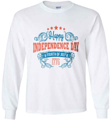 Happy Independence Day. Fourth of July. 1776. Gildan Ultra Cotton Long Sleeve Shirt.
