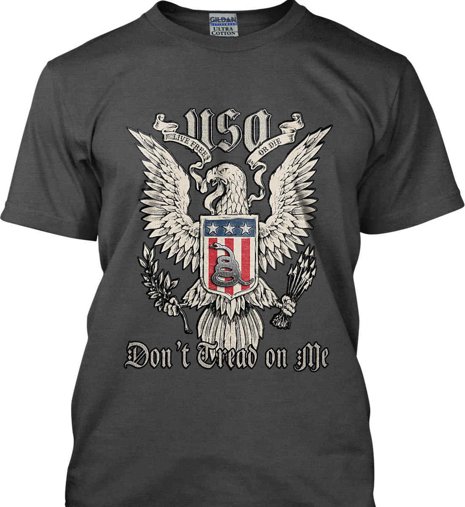 Don't Tread on Me. Eagle with Shield and Rattlesnake. Gildan Ultra Cotton T-Shirt.-10