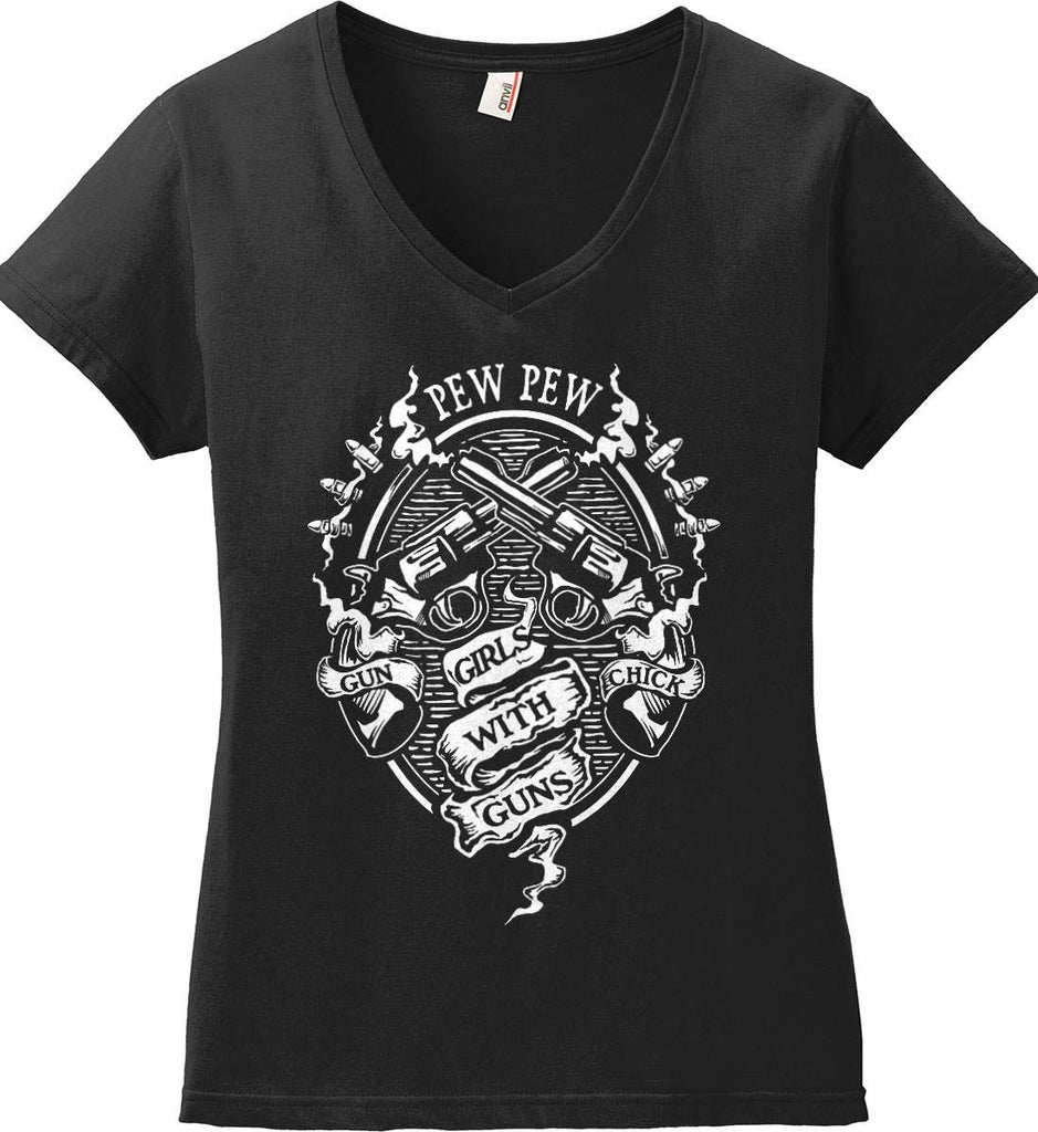 Pew Pew. Girls with Guns. Gun Chick. Women's: Anvil Ladies' V-Neck T-Shirt.-2