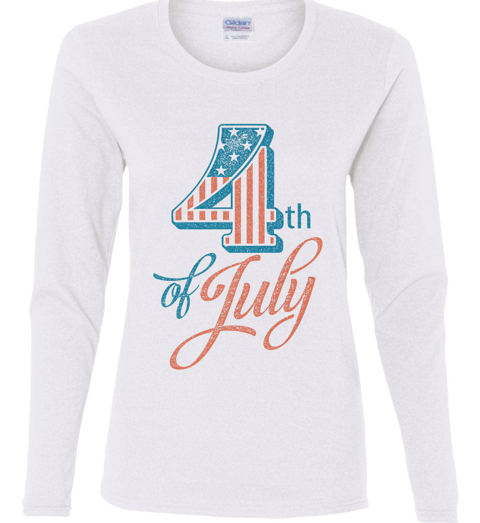 4th of July. Faded Grunge. Women's: Gildan Ladies Cotton Long Sleeve Shirt.-2