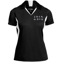 Join Or Die. White Text. Women's: Sport-Tek Ladies' Colorblock Performance Polo. (Embroidered)