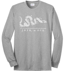 Join or Die. White Print. Port & Co. Long Sleeve Shirt. Made in the USA..