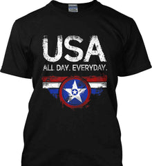 USA All Day Everyday. Gildan Ultra Cotton T-Shirt.