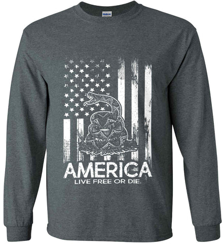 America. Live Free or Die. Don't Tread on Me. White Print. Gildan Ultra Cotton Long Sleeve Shirt.