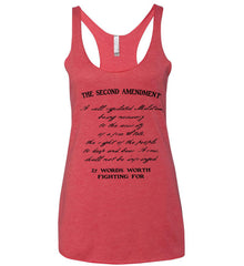 The Second Amendment. 27 Words Worth Fighting For. Second Amendment. Black Print. Women's: Next Level Ladies Ideal Racerback Tank.