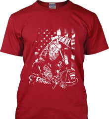 Thin Red Line. Kneeling Firefighter Ax. White Print. Gildan Tall Ultra Cotton T-Shirt.