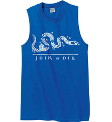 Join or Die. White Print. Gildan Men's Ultra Cotton Sleeveless T-Shirt.