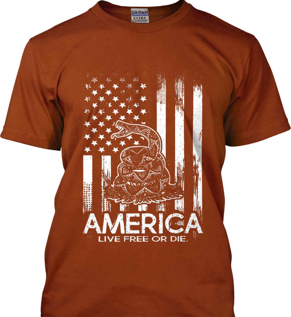 America. Live Free or Die. Don't Tread on Me. White Print. Gildan Ultra Cotton T-Shirt.-12