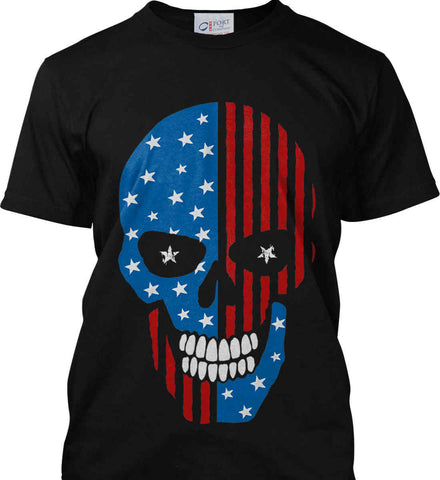 American Skull. Starry Eyes. Port & Co. Made in the USA T-Shirt.