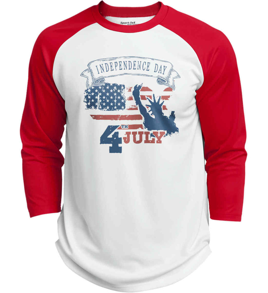 4th of July. Faded Grunge. Statue of Liberty. Sport-Tek Polyester Game Baseball Jersey.-1