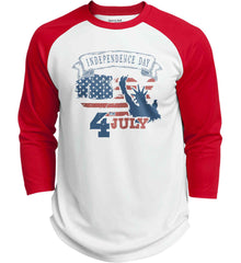 4th of July. Faded Grunge. Statue of Liberty. Sport-Tek Polyester Game Baseball Jersey.