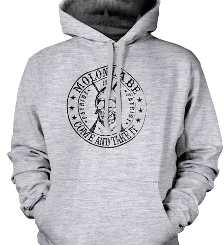 Molon Labe. Come and Take. Skull. Black Print Gildan Heavyweight Pullover Fleece Sweatshirt.