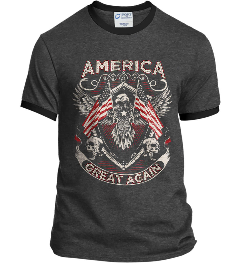 America. Great Again. Port and Company Ringer Tee.-1