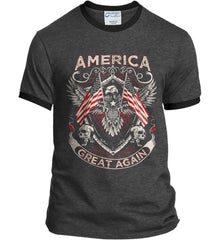 America. Great Again. Port and Company Ringer Tee.