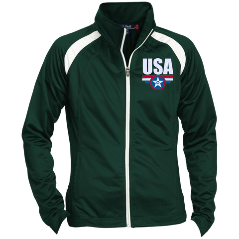 USA. Star-Shield. Red, White, Blue. Women's: Sport-Tek Ladies' Raglan Sleeve Warmup Jacket. (Embroidered)
