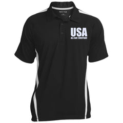 USA. All Day. Everyday. White Text. Sport-Tek Men's Colorblock 3-Button Polo. (Embroidered)