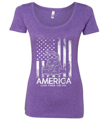 America. Live Free or Die. Don't Tread on Me. White Print. Women's: Next Level Ladies' Triblend Scoop.