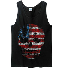 American Skull. Red, White and Blue. Gildan 100% Cotton Tank Top.