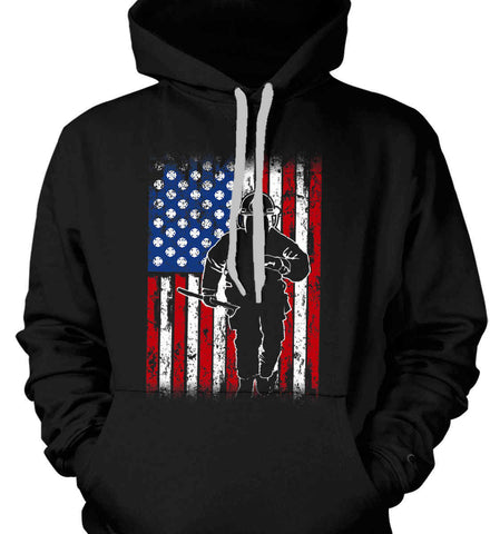 Firefighter American Flag. Gildan Heavyweight Pullover Fleece Sweatshirt.