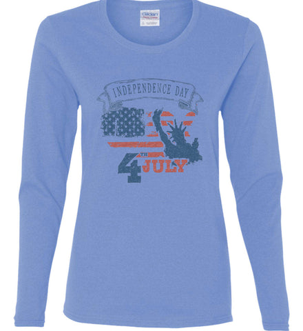 4th of July. Faded Grunge. Statue of Liberty. Women's: Gildan Ladies Cotton Long Sleeve Shirt.