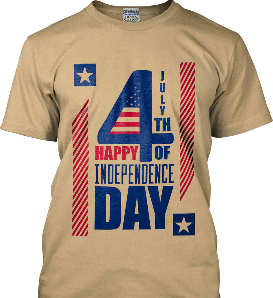 4th of July with Stars and Stripes. Gildan Ultra Cotton T-Shirt.-6
