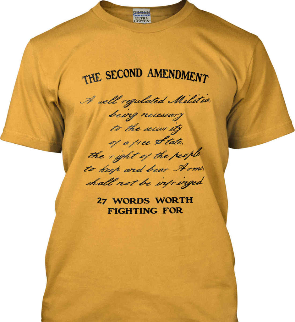 The Second Amendment. 27 Words Worth Fighting For. Second Amendment. Black Print. Gildan Ultra Cotton T-Shirt.-3
