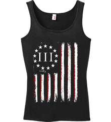 Three Percent on American Flag. Women's: Anvil Ladies' 100% Ringspun Cotton Tank Top.