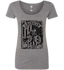 American Patriot - Flag/Rider. Black Print. Women's: Next Level Ladies' Triblend Scoop.