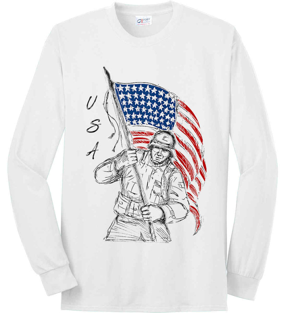 Soldier Flag Design. Black Print. Port & Co. Long Sleeve Shirt. Made in the USA..-1