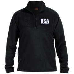 USA. All Day. Everyday. White Text. Harriton 1/4 Zip Fleece Pullover. (Embroidered)